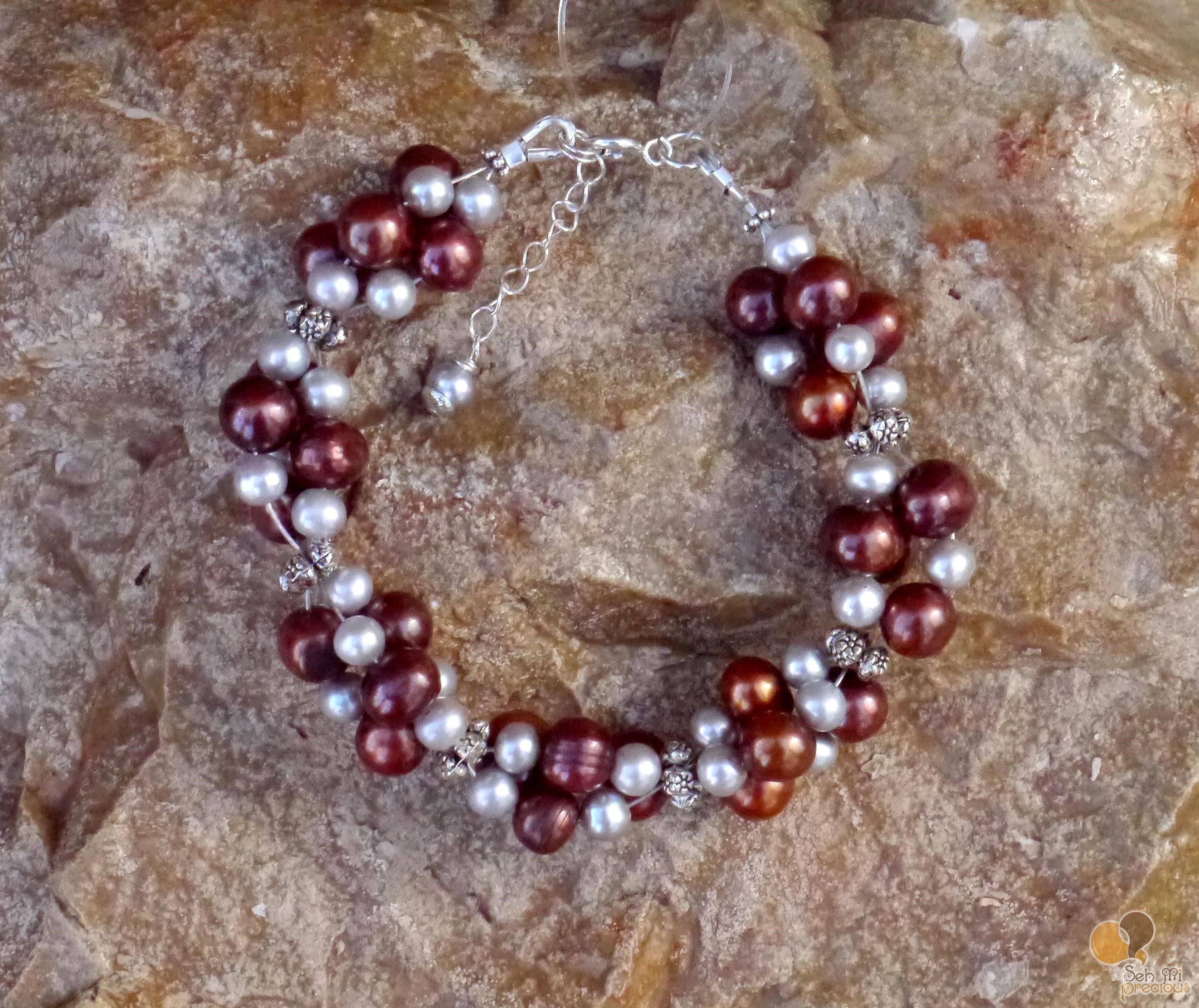 Bronze & silver fresh water pearl