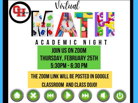 Oak Hill To Host Virtual Math Night