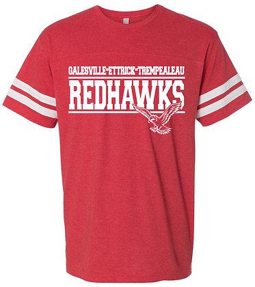 Red Hawk Football Fine Jersey Tee