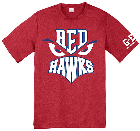 Red Hawk Face Poly Tee
