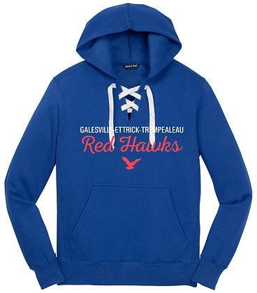 Red Hawk Hockey Lace Hood