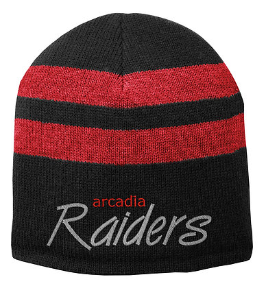Raiders Fleece Lined Striped Beanie