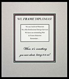 10% Off Diploma Framing !