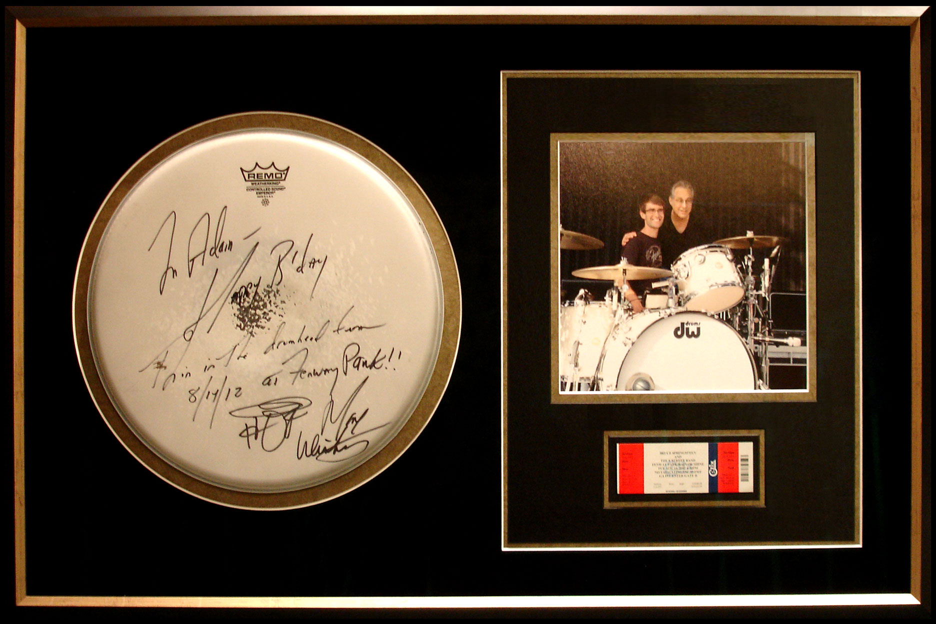 A signed drumhead to a Fan
