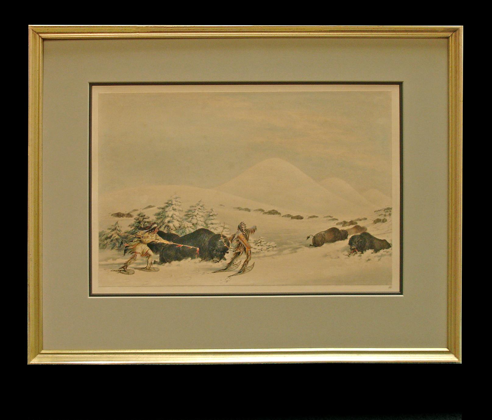 Antique print Hunting Bison