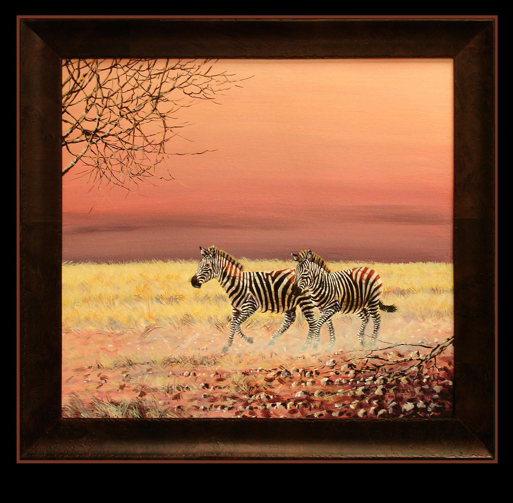 Oil painting, Zebras