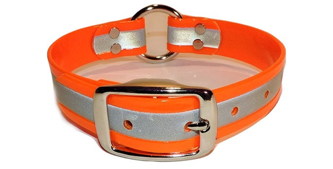neon orange reflective 1 inch dayglo dog collar with center ring.