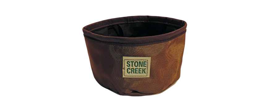 Brown nylon fold-able / collapsible water bowl