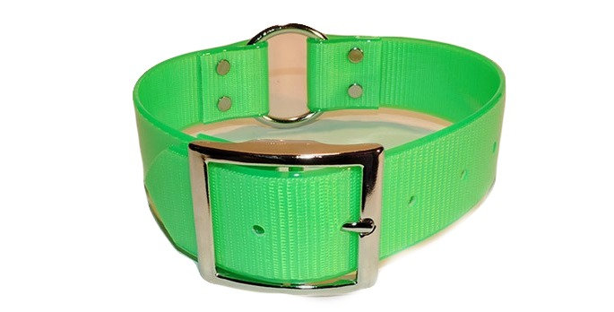 Neon green 1 1/2 wide dayglo dog collar with center ring.