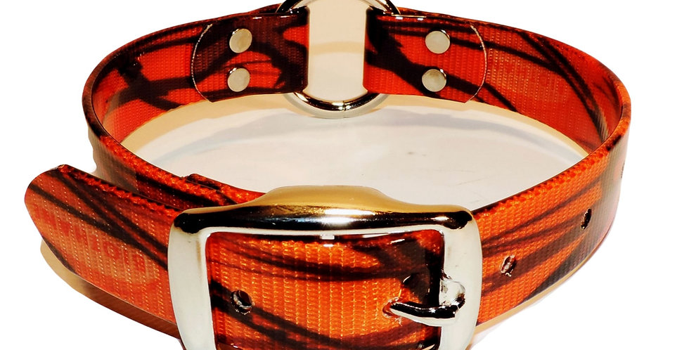 Orange camo dayglo dog collar 1 inch wide with center ring.