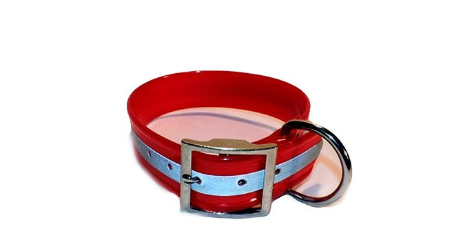 Red reflective dayglo dog collar 1 1/2 inch wide with Dee ring behind the buckle. Comes in various lengths.