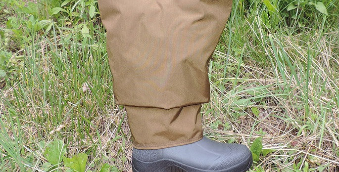 Brown waterproof briar proof frog leg waders with Muck Wetland boot.Adjustable strap on wader