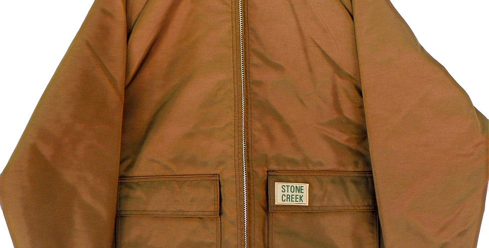 Brown 420 denier nylon jacket with corduroy collar , flannel liner and snaps for adding detachable hood.