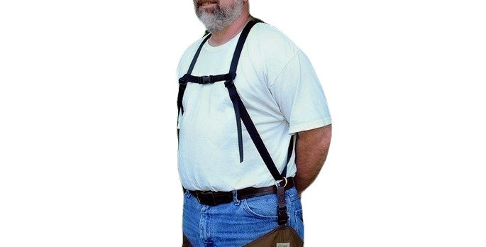 1 inch wide adjustable nylon suspenders with ring to attach your chaps or frog legs to