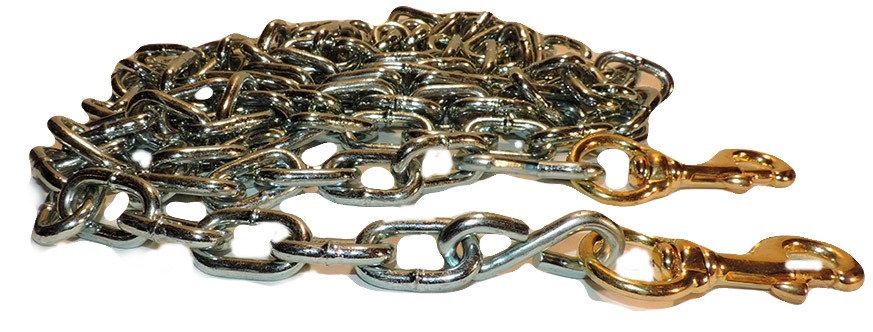 ten foot welded link tie out chain with solid brass snap on each end
