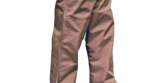 Brown 1000 Denier Snake chaps.   3 layers of 1000 denier protection from above knees down. Life time warranty zipper.