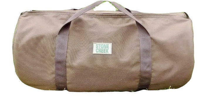 brown waterproof heavy duty gear bag 12 inches high 24 inches long