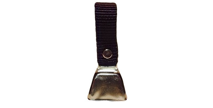 Nickle plated 1 inch tall cow bell with nylon loop to fit over dog collar