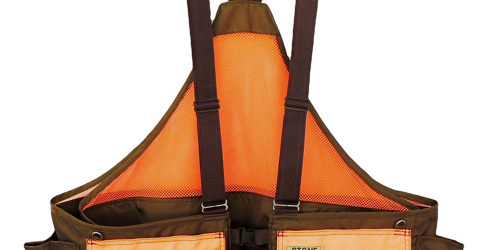 Orange and Brown adjustable Strap game vest with front/rear load game bag, large pockets and water bottle holders