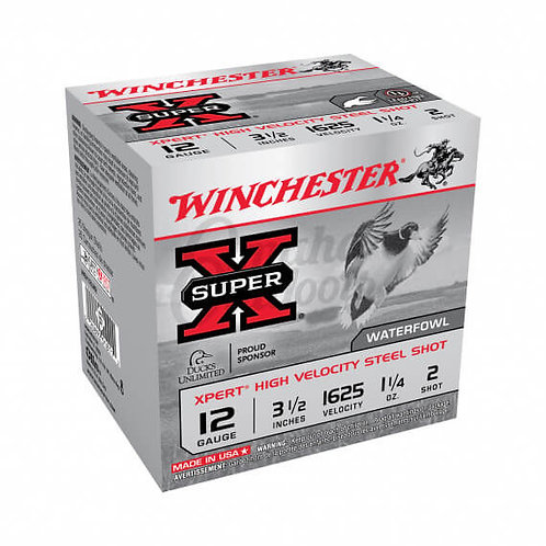 "Winchester Super-X Xpert Hi-Velocity Ammo 12 Gauge 3.5"" #2 Shot Steel 25 Round B"