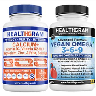 Healthgram Calcium Plus + Vegan Omega 3-6-9 Tablet Combo Pack