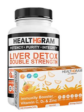 Healthgram Liver Detox + Vitamin C Tablets Combo Pack