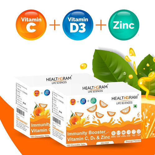 Healthgram Vitamin C 500 mg , Vitamin D3 400 IU and Zinc 7.5 mg Tablet  - 100tab