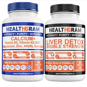 Healthgram Calcium Plus + Liver Detox Tablets Combo Pack