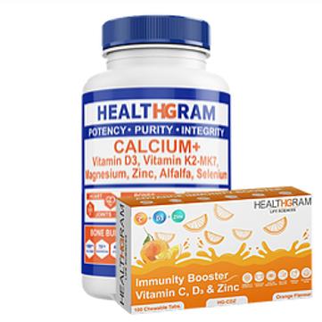 Healthgram Calcium Plus  + Vitamin C Tablets Combo Pack
