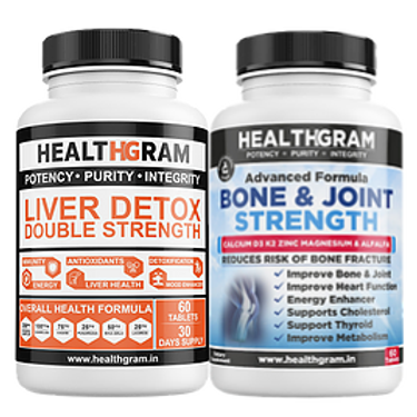 Healthgram Liver Detox + Bone & Joint Tablets Combo Pack