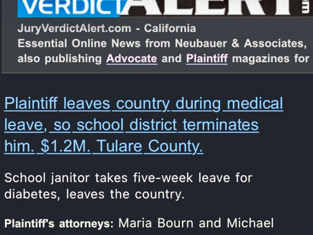 Tulare County Jury Awards $1.28 Million in Wrongful Termination Case