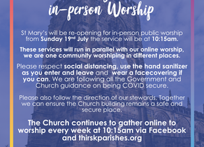 Re-Opening For In-Person Public Worship