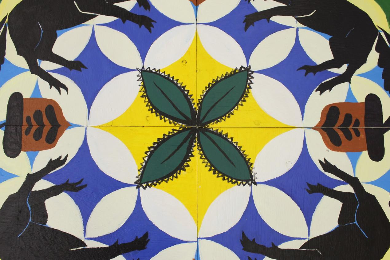 Traditional Symbolism:   Four leaf clover = good luck Three leaf = the trinity  Unicorns = all God's creation living in harmony  Acorns = rebirth/new beginnings