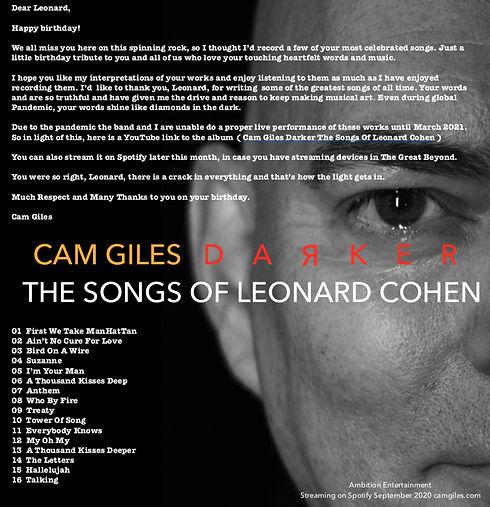 Cam Giles DARKER The Songs Of Leonard Co
