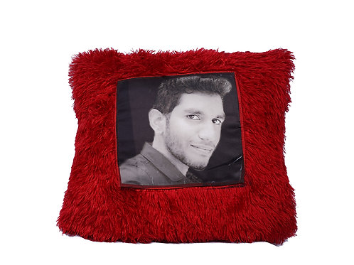 Personalized RED FUR Pillow