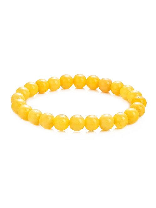Стильный браслет из натурального ярко-медового янтаря «Карамель солнечная»