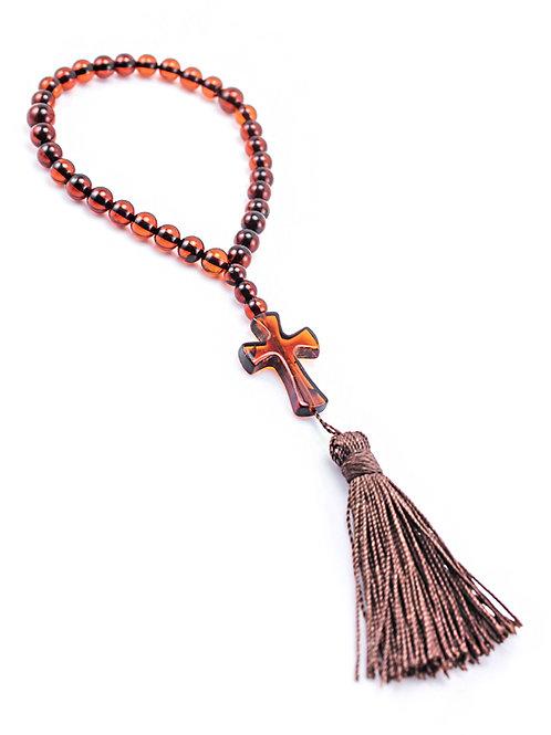 Маленькие православные четки из натурального янтаря цвета спелой черешни