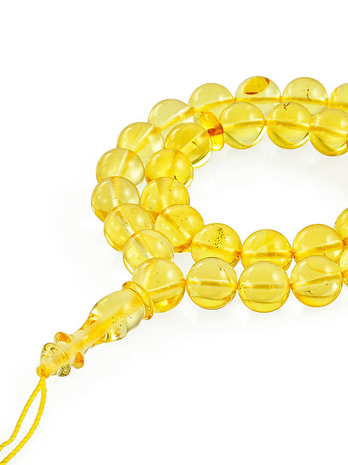 Четки из натурального цельного янтаря «Шар лимонный»