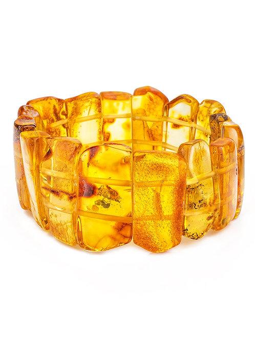 Браслет из натурального цельного янтаря лимонного цвета «Помпеи»