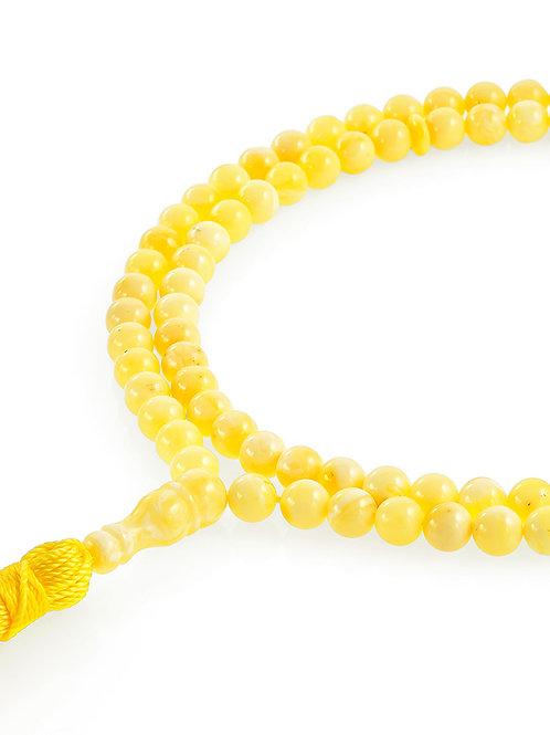 Мусульманские чётки на 99 бусин из мелких янтарных шаров медового цвета