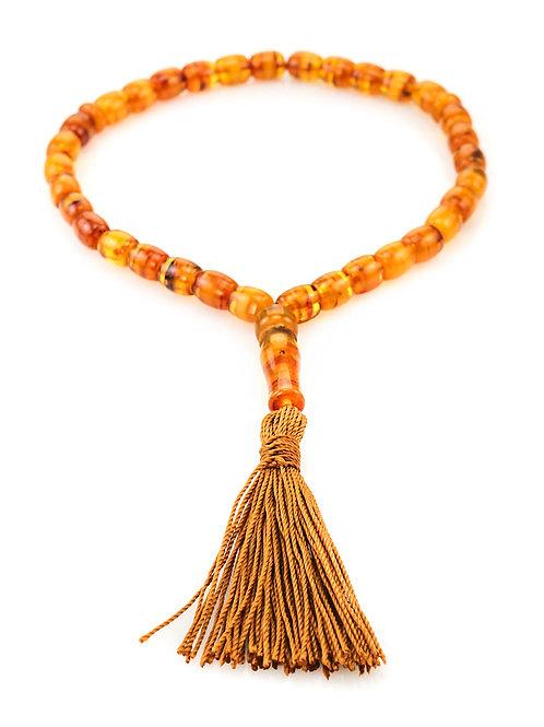Мусульманские четки на 33 бусины из натурального янтаря «Бочонки полосатые