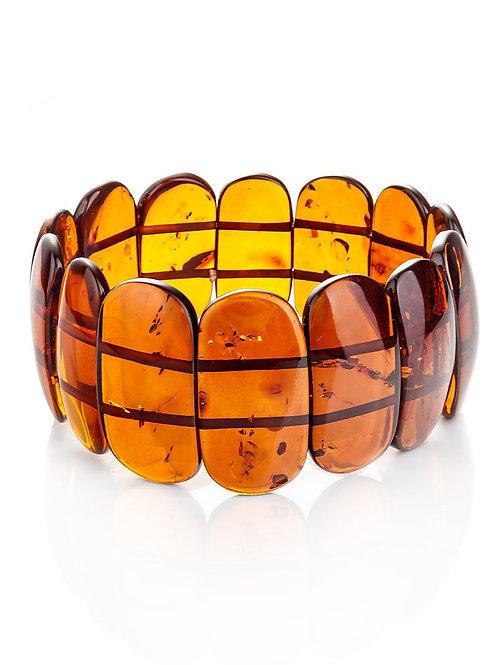 Элегантный браслет из натурального цельного янтаря коньячного цвета «Пластинки»