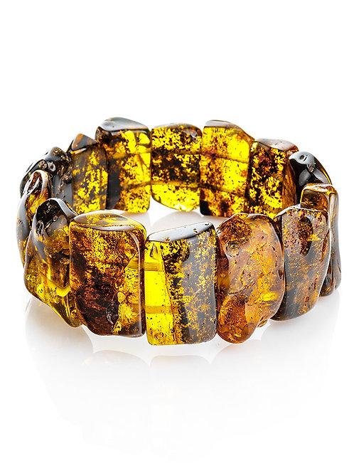 Эффектный яркий браслет из текстурированного балтийского янтаря «Помпеи»
