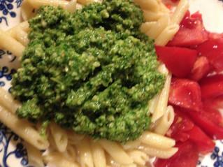 Raw vegan pesto with fresh tomato