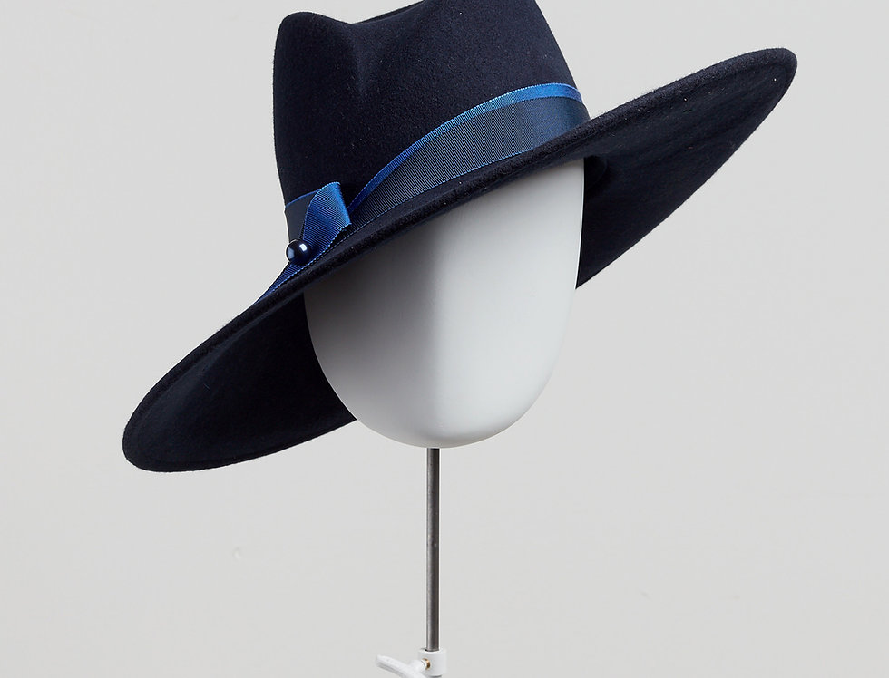 Sally-Ann Provan - Fenella wool felt fedora hat with ribbon trim - navy colour front view