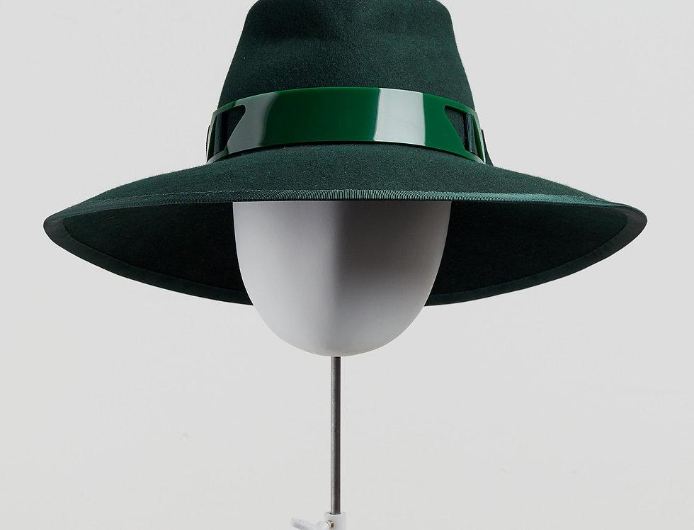 Sally-Ann Provan - Blair wool felt fedora hat with acrylic trim - bottle green - front view