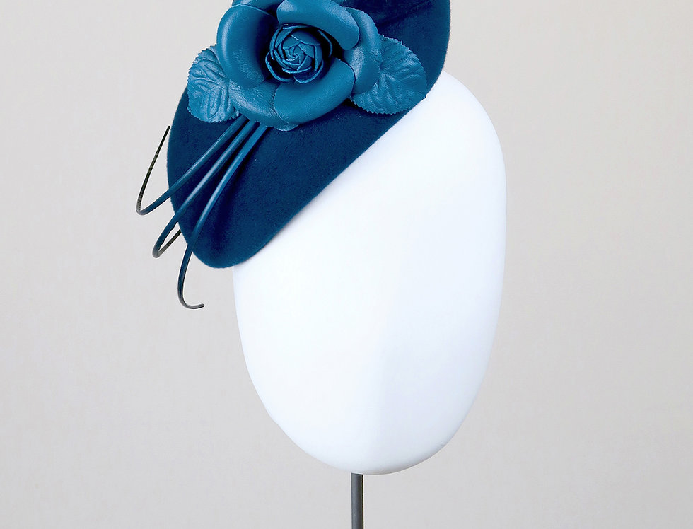 Mie felt teardrop percher hat with leather camelia and three quills