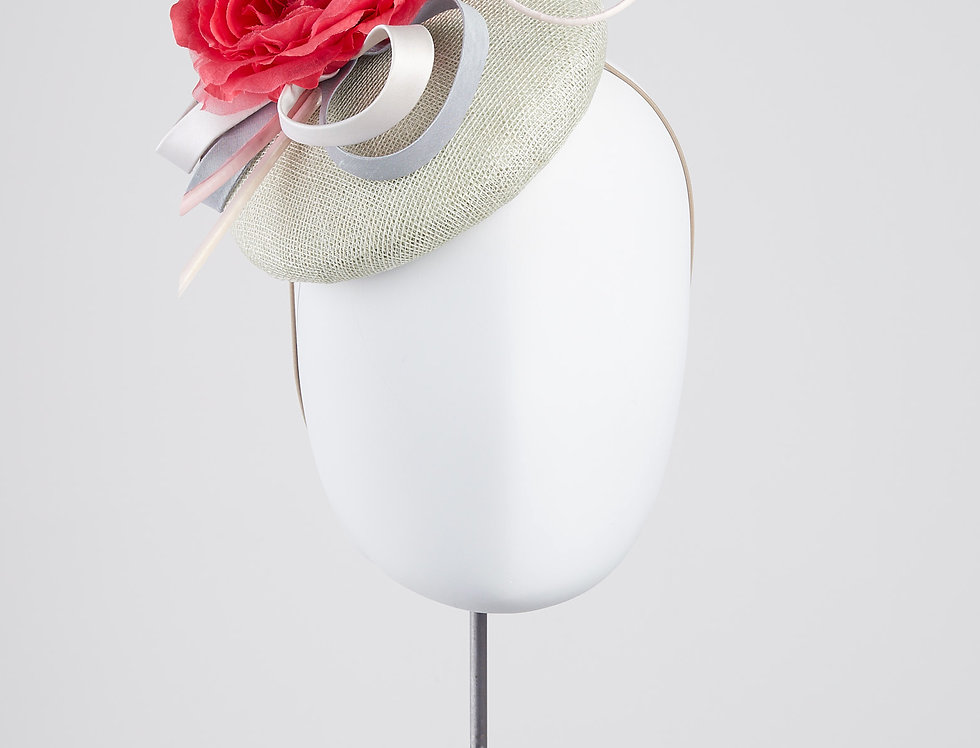 Fifi pillbox hat with peony flower and silk loops and spiral quills