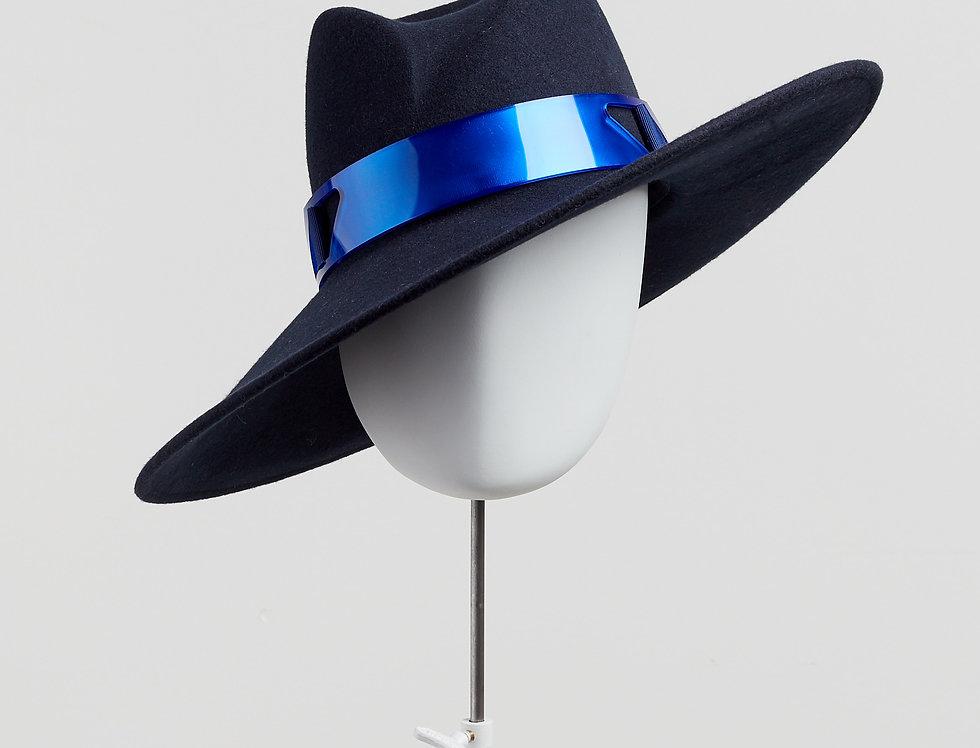 Sally-Ann Provan - Fenella wool felt fedora hat with mirror acrylic trim - navy blue - front view