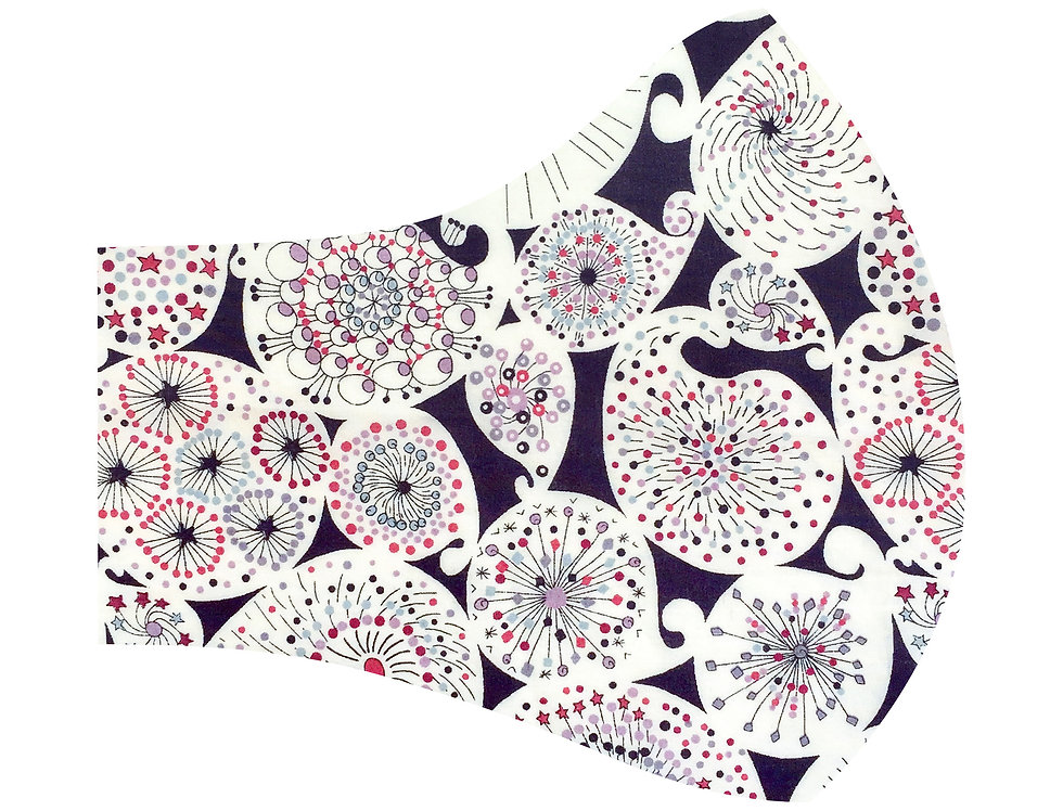 Liberty of London - Red and Purple Astro Flower 100% tana lawn cotton face mask, face covering with adjustable elastics